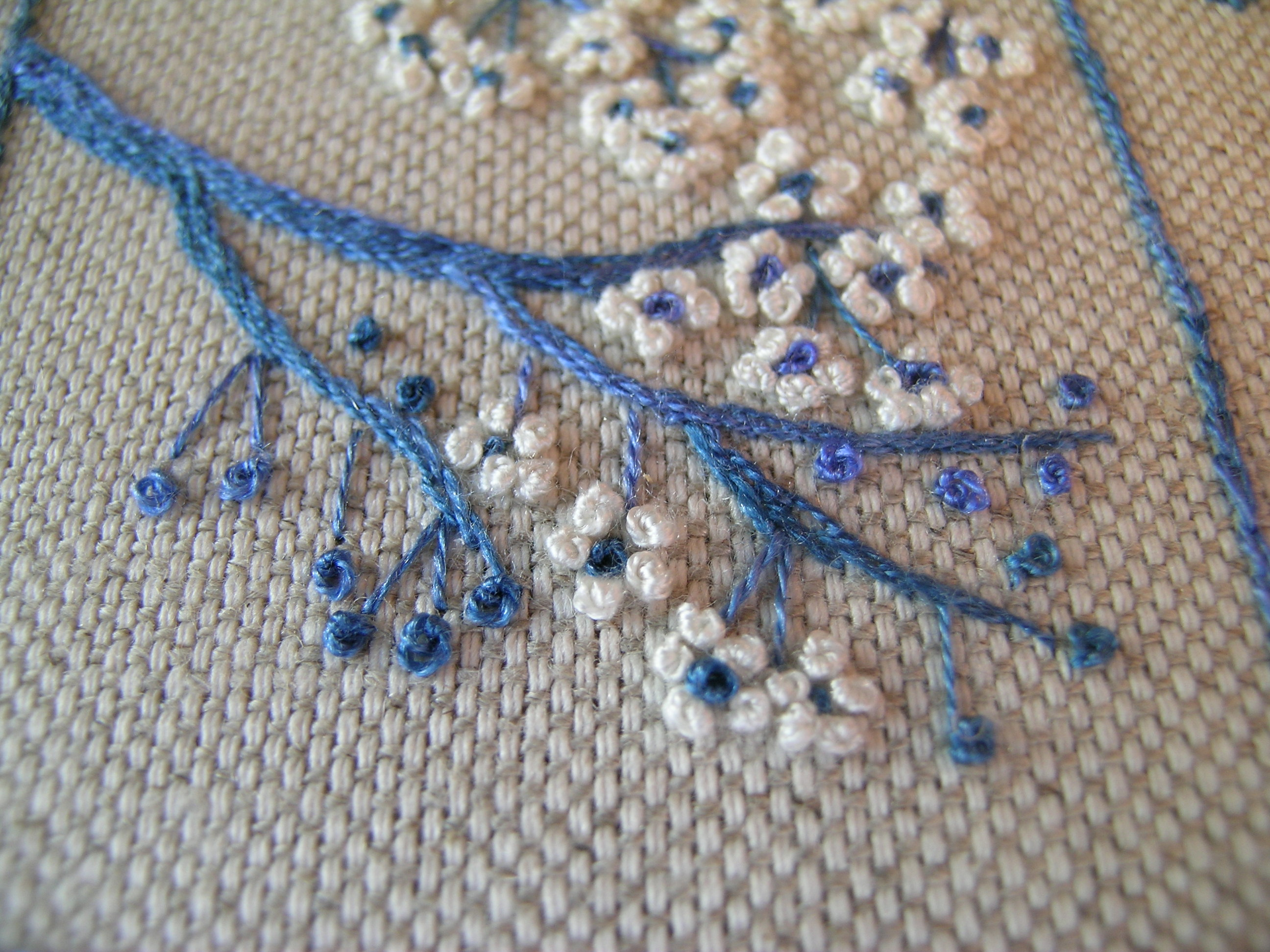 Ribbon embroidery under a topaz sky