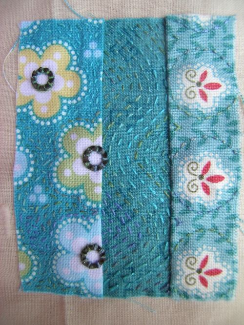 Turquoise patchwork block