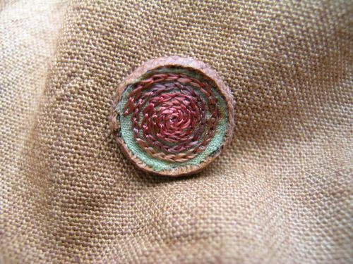Acorn cup spiral embroidery