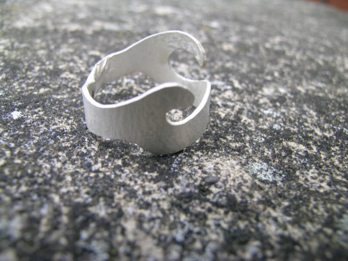 Silver acorn cup ring 5