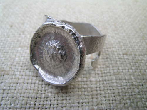 Silver acorn cup ring 7