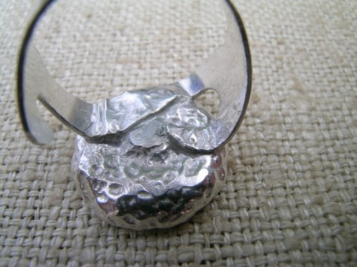 Silver acorn cup ring 8