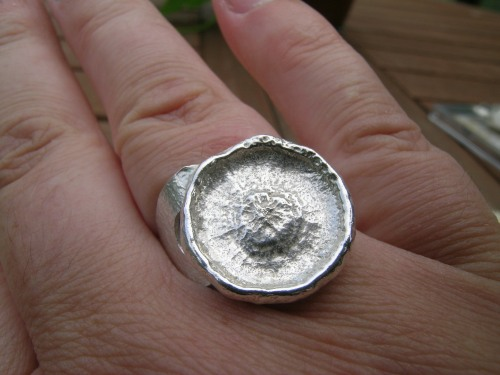 Silver acorn cup ring 10