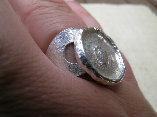 Silver acorn cup ring 11