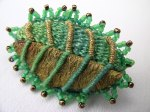 beaded leaf brooch