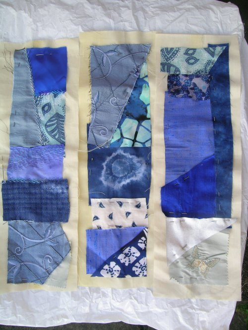 Blue crazy patchwork cushion 1