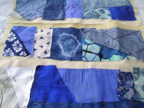 Blue crazy patchwork cushion 9