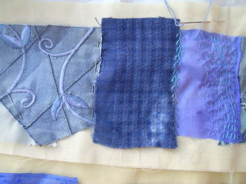 Blue crazy patchwork cushion 3
