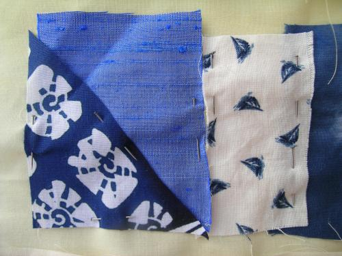 Blue crazy patchwork cushion 4