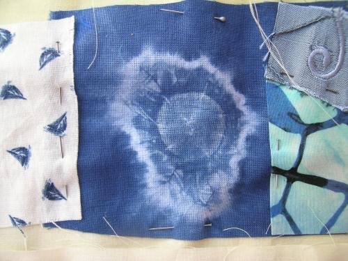 Blue crazy patchwork cushion 5
