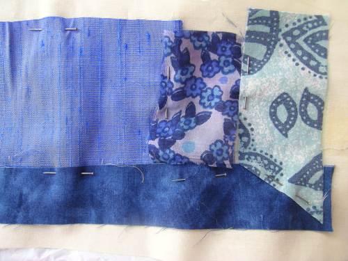 Blue crazy patchwork cushion 6