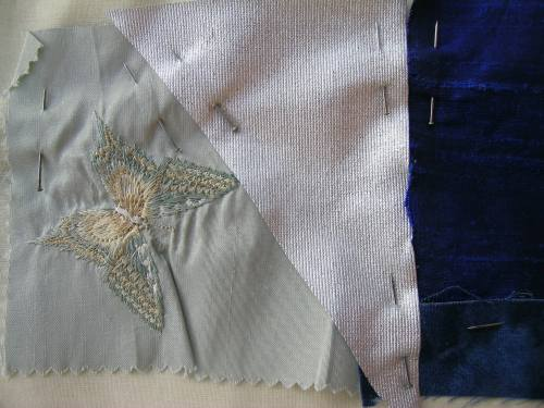 Blue crazy patchwork cushion 8