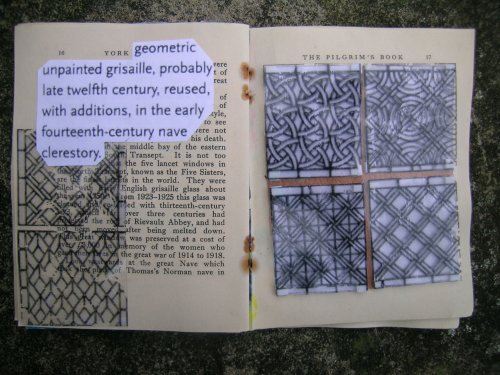 Grisaille windows altered book spread