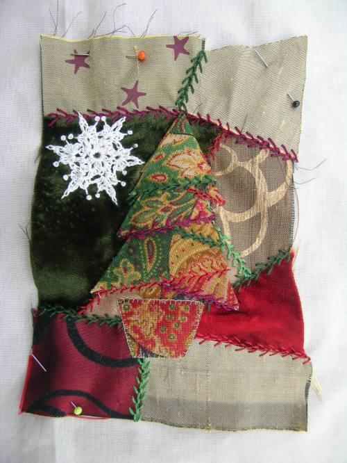 Crazy patchwork Christmas tree 1