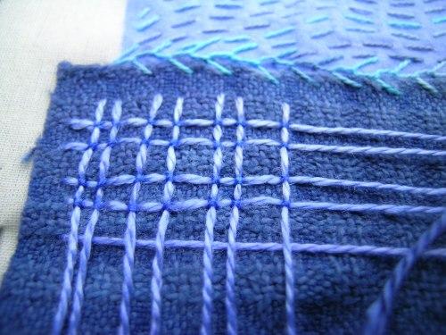 Jacobean laid work blue 1