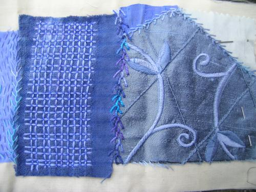Jacobean laid work blue 3