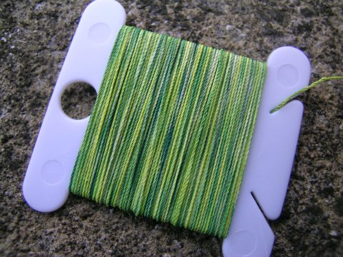 Hand dyed yellow-green thread