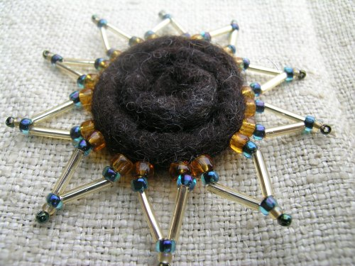 Brown, blue and gold spiral brooch 2