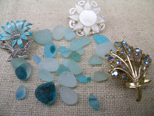 Sea glass and vintage brooches