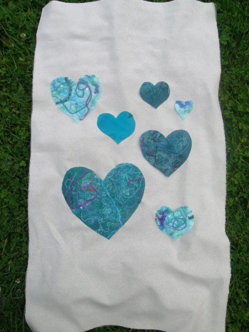 Fused fabric hearts panel 1a
