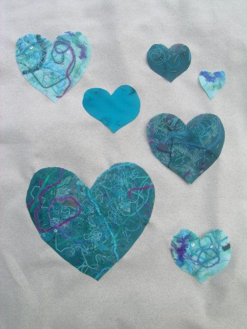 Fused fabric hearts panel 1b
