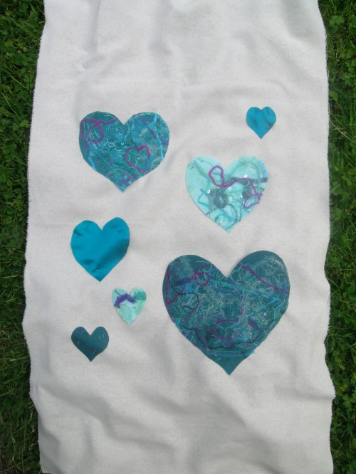 Fused fabric hearts panel 2a