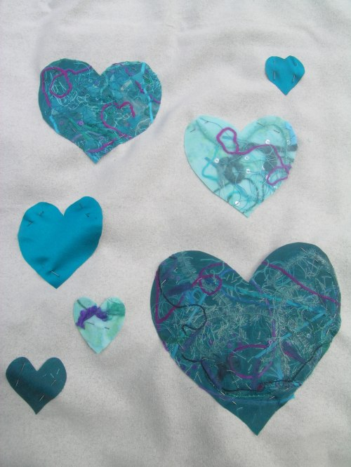 Fused fabric hearts panel 2b