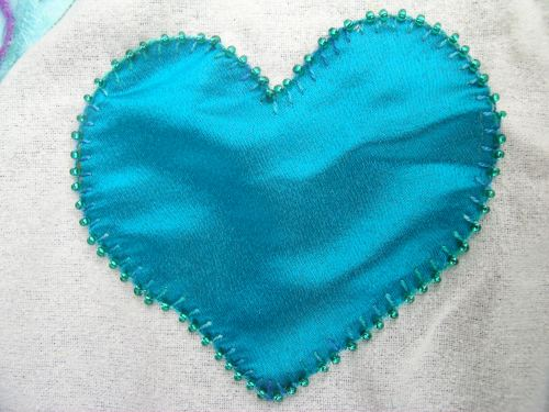 Heart with beaded buttonhole stitch 1