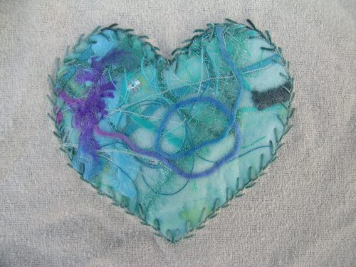 Feather stitched heart 1