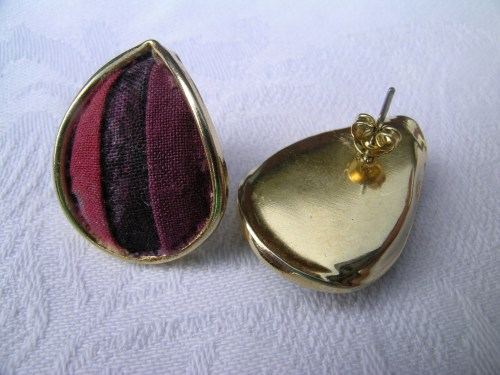 Tear-drop upcycled patchwork earrings 2