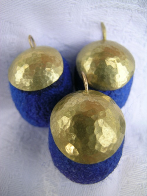 Brass and silk cocoon pendants 3
