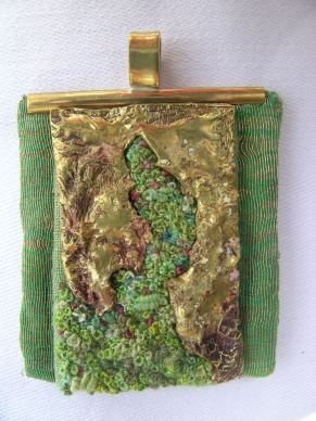Moss mixed media pendant
