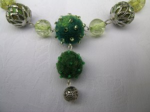 Uncycled felted bead necklace