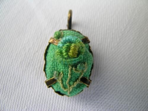 Bullion rose upcycled pendant