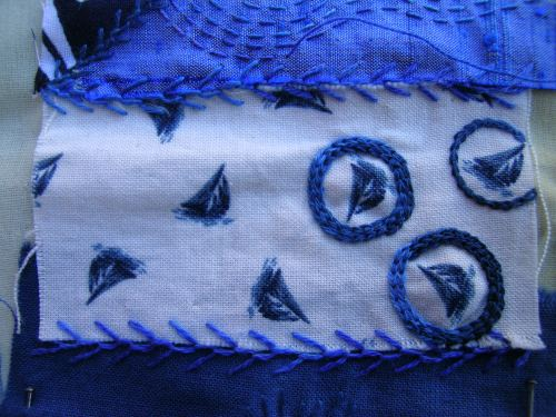 More blue crazy patchwork 5