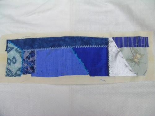 Blue crazy patchwork strip 3