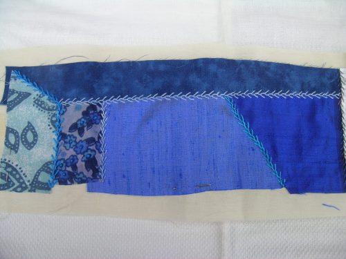 Blue crazy patchwork strip 3 close up