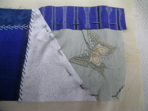 Blue crazy patchwork strip 3 butterfly end