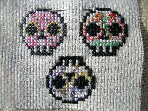 Three Day of the Dead skulls