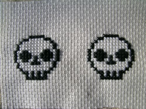 Cross stitch skulls