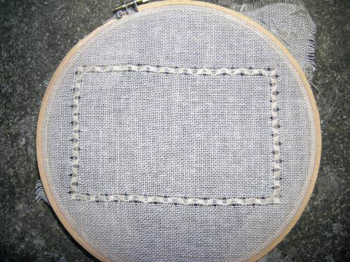 Pulled thread sampler - border