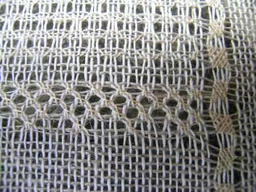 Pulled thread sampler - Diagonal cross close-up