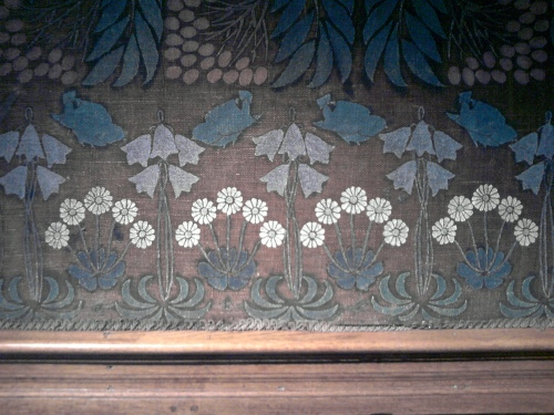 Stencilled Hessian wall covering, Blackwell House, Bowness