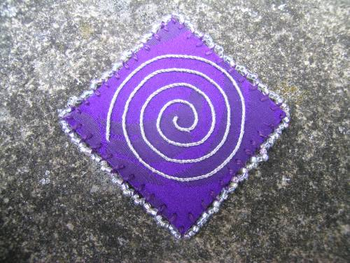 Purple square with beaded blanket stitch 1