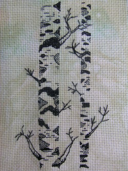 Free blackwork silver birches 2