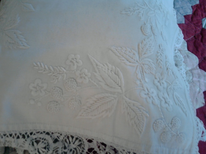 Whitework pillow at Brantwood
