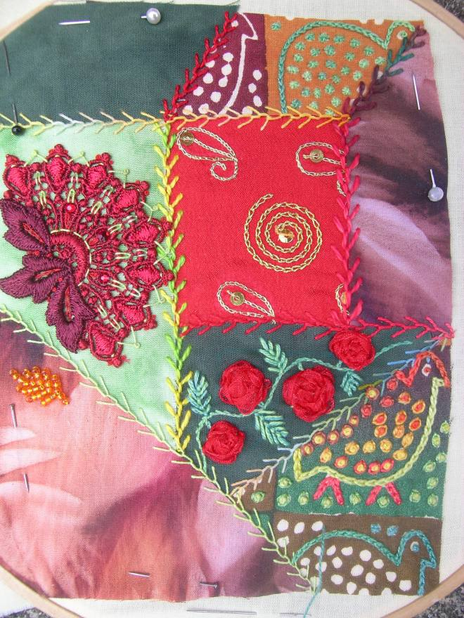 Red/green crazy patchwork 6