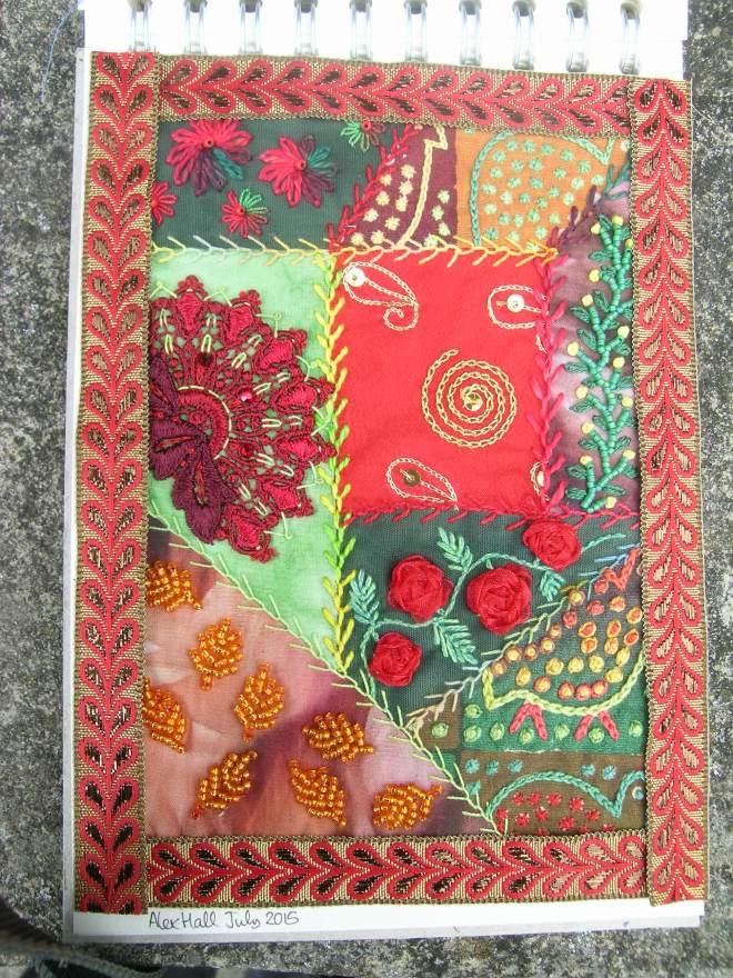 Red green crazy patchwork 6