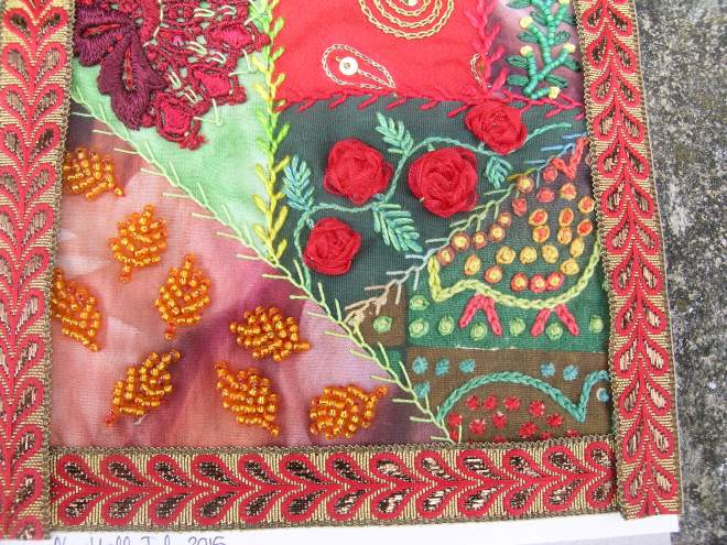 Red green crazy patchwork 7