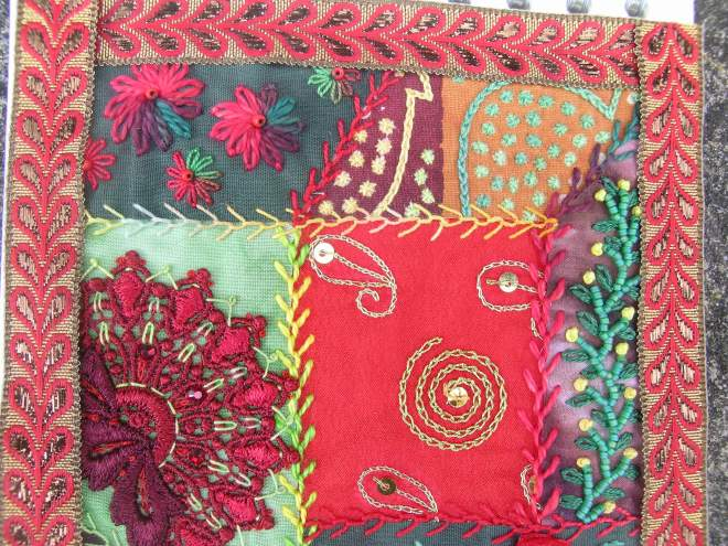 Red green crazy patchwork 9